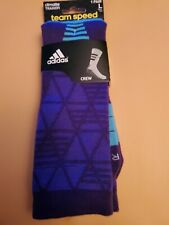 Adidas Traxion crew socks large purple and blue