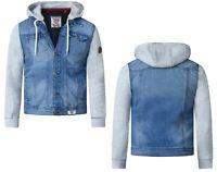 D555 Mens Big Size Lester Vintage Blue Long Sleeve Fleece Hooded Denim Jacket