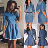 Womens Ladies Long Sleeve Denim Jeans Short Mini Dress Casual V Neck Shirt Dress