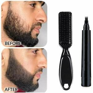 Waterproof 4 Fork Tips Beard Shaping Pen Filler with Styling Brush for Mens New