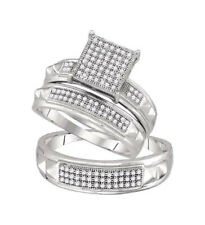 Sterling Silver Diamond Solitaire Matching Wedding Bridal Trio Ring Set 1/3 CTW