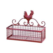 COUNTRY KITCHEN DECOR RED ROOSTER METAL SINGLE WALL BASKET RACK