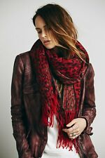 NEW WOMEN'S ANTHROPOLOGIE FREE PEOPLE RED BRUSHED ANIMAL SCARF