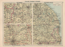 1930 MAP ~ ENGLISH TOURIST CENTRES ~ DUKERIES LEICESTERSHIRE & NORFOLK BROADS