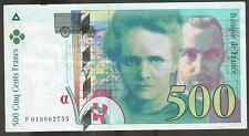 A SAISIR TRES RARE BILLET DE 500 FRANCS PIERRE ET MARIE CURIE DE 1995 TYPE RARE