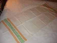 Vintage Damask Runner Orange-Gold & Green End Stripes