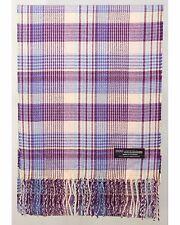 100% Cashmere Scarf Pink Purple Blue Check Tartan Plaid SCOTLAND Wool Women R933