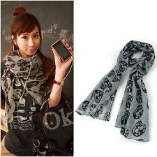 Womens Long Soft Cool Skull Scarves Silky Wrap Shawl Scarf Gray