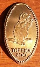 Elongated pressed penny Retired Kansas - Topeka Zoo prairie dog rodent - copper