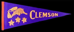 Clemson Tigers **RARE** Vintage Pennant 1960's NCAA College Football Bowl Champs