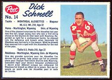 1962 POST FOOTBALL CFL #14 DICK SCHNELL EX-NM MONTREAL ALOUETTES UNIV OF WYOMING