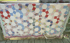 """Hand Stitched Vintage Patchwork Cutter Quilt 85""""x 72"""" Used Condition"""