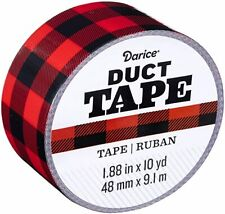 Darice Patterned Buffalo Plaid, 1.88 Inches x 10 Yards Duct Tape - Black & Red