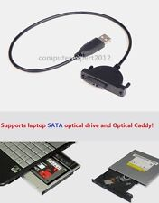 USB 2.0 to 7+6 13Pin Cable for SATA 2nd Hard Drive Adapter Caddy + Optical Drive
