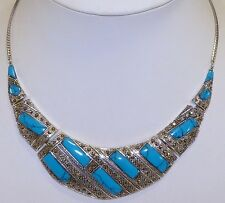 GENUINE! Arizona Turquoise & Marcasite 65grams Sterling Silver 925 Necklace!