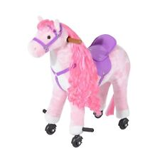 Qaba Kid Children Ride on Toy Walking Horse Plush Pony w/ Wheels & Neigh Sounds