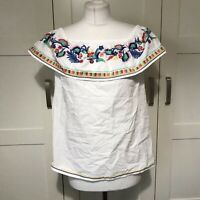 White Off The Shoulder Embroidered Floral Top Size 10