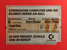 Fußball Eintrittskarte Ticket Bayern München - Werder Bremen 1987/88 ( 60195