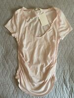 New We The Free People Sonnet Tee S Side Gathered Shirt Chiffon Cake Pale Pink