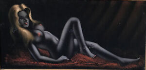 """Vintage MCM Black Velvet Painting Reclining Nude Woman Framed MEXICO 26""""x49"""" WOW"""