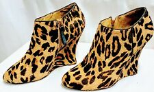 Nine West Womens Leather w Real Fur Wedge Heel Ankle Boot Animal Print Size 9 M