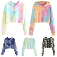 Women Hoodie Sweatshirt Crop Tops Causal Long Sleeve Harajuku Pullover Sweater