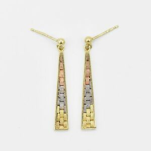 """14k Tri Colored Gold 1.5"""" Textured Drop/Dangle Post Earrings"""