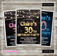 Personalised Birthday Invitations •18th 21st 30th 40th 50th 60th • Party Invites