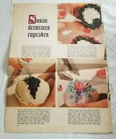 Rare Find SUSAN DECORATES CUPCAKES SMALL CAKES from Vintage Magazine 2 pages