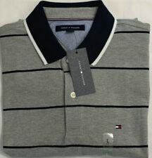 New Tommy Hilfger Men's Short Sleeve Polo Gray Block Stripe Size L $25.00