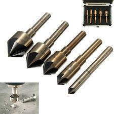 """5pcs 5 Flute Countersink Drill Bit Set 82° Counter Sink Chamfer Cutter 1/4""""-3/4"""""""