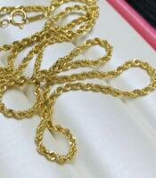 100% Pure 18K Yellow Gold Necklace Au750 Twisted Rope Chain 23.6 INCH adjustable