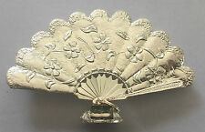 Vintage! ANTIQUE HAND FAN Place Card Holder Flowers with Leaves Wedding SILVER