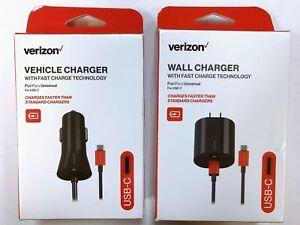 Verizon USB-C Type C Travel Rapid Wall Car Fast Charger for Samsung LG Google