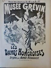 1897 HONGRIE AFFICHE CHERET DAMES HONGROISES MUSICIENNES AGNES KRAKAUER