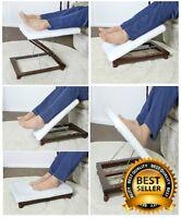 Luxury Padded 3 Way Foot Leg Rest Footstool Stool Adjustable Fold Flat Mahogany