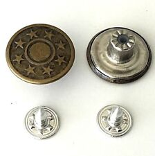 5 x 17mm Jeans Buttons Denim Stud Button in Bronze with Pins Hammer On No Sew