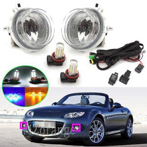 LED Right Left Side Front Fog Light Lamps Wiring Kits For Mazda 2 3 6 BT-50 MPV