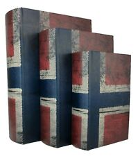 NEW - Wood Antique Book Box, Set of 3 - Brittania - Storage - FREE SHIPPING!!!