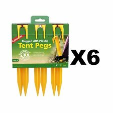 "Coghlan's ABS Tent Pegs 9"" Yellow Plastic Rugged Non-Slip Stakes (6-Pack of 6)"