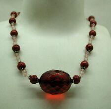 Vintage Very Nice Silver Cherry Bakelite Amber And Quartz Necklace