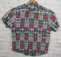 Vintage Eddie Bauer Indian Madras Patchwork Short Sleeve Shirt Men's Large