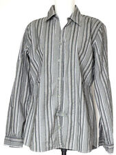 Pulp Sage Green Striped Long Sleeve Stretch Cotton Shirt L Large