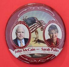 JOHN  McCAIN   <>   SARAH  PALIN  <>  2008   ELECTION CAPAIGN BADGE <> USED(red)