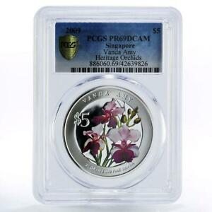 Singapore 5 dollars Flowers Vanda Amy PR69 PCGS colored proof silver coin 2009