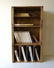 n. 3 Cassette di legno,verniciate, libreria componibile in legno riciclato