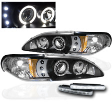1994-1998 FORD MUSTANG BLACK HALO DRL LED PROJECTOR HEAD LIGHTS LAMP W/WHITE DRL