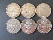 More details for  six silver florins/two shillings date run 1935 to 1940. george v & george vi.