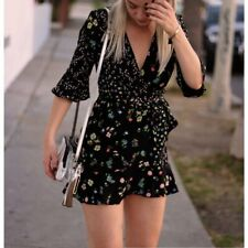 BNWT Topshop Black Floral Wrap Dress - Size 8