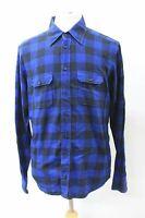 ETON Men's Blue Black Slim Fit Collared Long Sleeve Cotton Check Shirt 42cm L